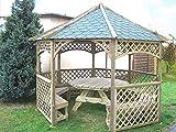 Kiefer/Fichtenholz Kesseldruckimprägniert Standfläche: 350 x 350 cm Pfostenstärke: 7 x 7 cm glatt gehobelt Dachkonstruktion