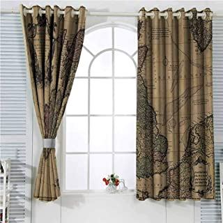 Wanderlust Decor Collection Light Blocking Curtains for Living Room British Islands Scotland England European History Books Britain Grunge Artwork Bedroom Curtains Decor W72 x L107 Inch Beige Olive I