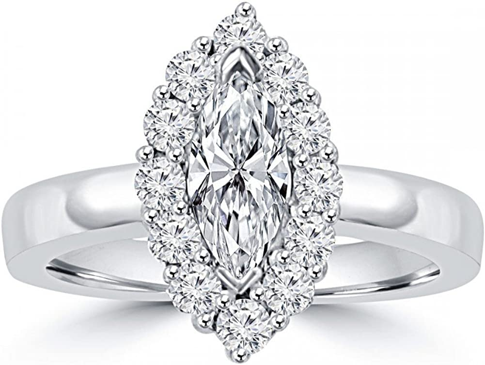 Madina Safety and trust Jewelry 1.46 ct Ladies Long-awaited Marquise Cut Round Ann Diamond