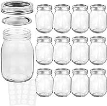 KAMOTA Mason Jars 16 oz With Regular Lids and Bands, Ideal for Jam, Honey, Wedding Favors, Shower Favors, Baby Foods, DIY Magnetic Spice Jars, 12 PACK, 20 Whiteboard Labels Included