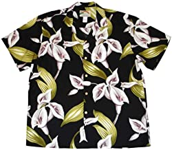 product image for Paradise Found Mens X-Large Black Calla Lily Hawaiian Rayon Shirt