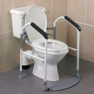 Homecraft Buckingham Foldaway Toilet Surround, Padded Toilet Grab Bars, Bathroom Handrail with Adjustable Height, standard Alone Device, Toilet Safety Frame for Eldery, Handicapped, and Disabled Aid