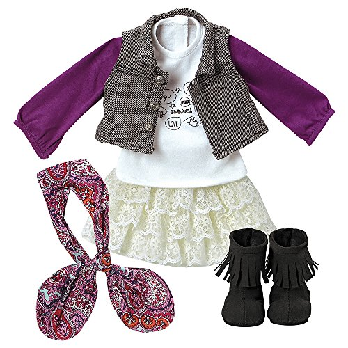"Adora Amazing Girls Trendy Twill & Lace Outfit for 18"" Doll  (Amazon Exclusive)"