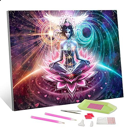 DIY Diamond Painting Kits for Adults, 5D Diamond Painting Kits Lotus Buddha Painting with Diamonds Kits, Round Full Drill Diamond Dots Home Decor-, 12'x16'