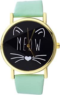 Lux Accessories Gold Tone Meow Cat Face and Mint Pattern Watch Band Watch
