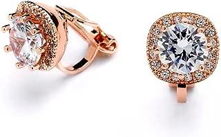 14K Rose Gold Clip On Stud Earrings - Cushion Shape 10mm Halo Round Cubic Zirconia Clip Earrings
