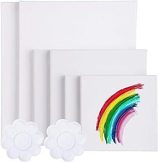 Viesap Canvas Panel Lot De 6 Toiles Pré-étirées Toiles à Peindre Encadrées 30*25 20*20 15*15cm 100% Pur Coton Toile à Pein...