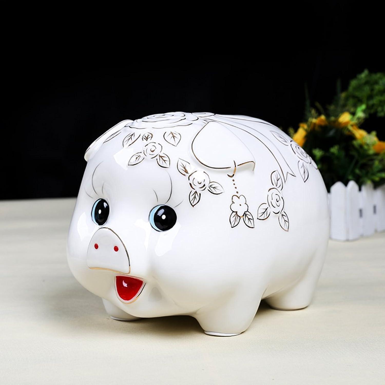 Porcellana bianca fiore gree maiale moneta salvadanaio bambino creativo deposito serbatoio moneta barile lusso soggiorno decorazione scrivania-A 26x18x18cm(10x7x7inch)26x18x18cm(10x7x7inch)