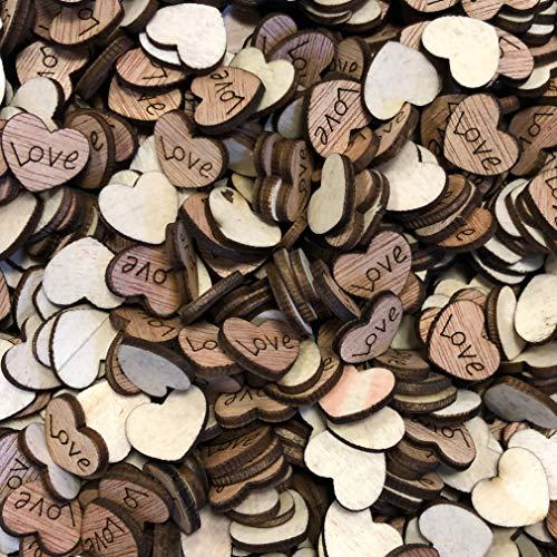 Wedding Touches Lot de 100 cœurs en bois style shabby chic avec inscription Love 15 mm