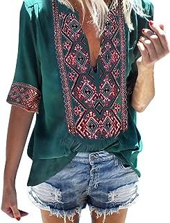 Women's Deep V-Neck Bohemian Print Half Sleeve Tops Casual Beach Wind T-Shirt