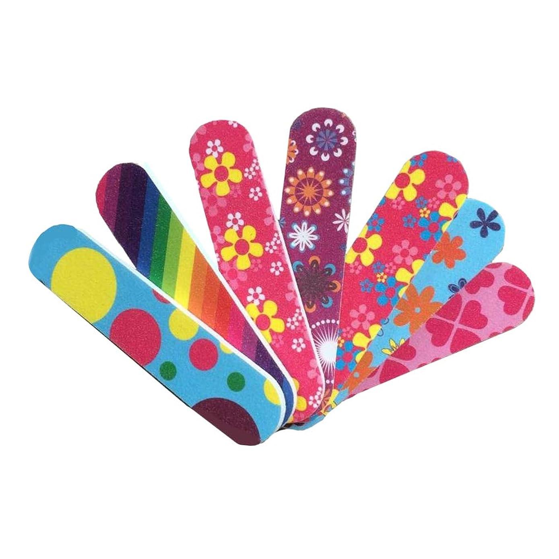 ストライプ一般的な神話Frcolor 爪やすり ミニ 爪磨き 両面タイプ ネイルシャイナー お手入れ ネイルケア マニキュア ネイルファイル 50本セット(ランダム色)