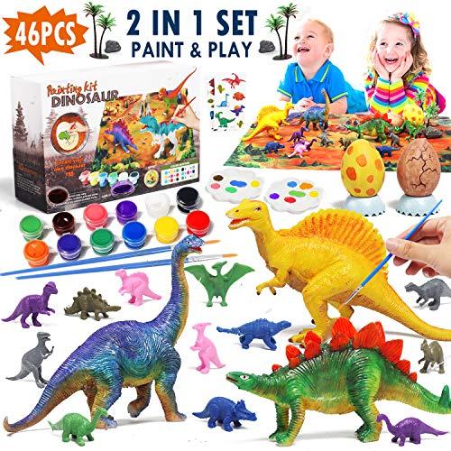 Lehoo Castle Dinosaurios Juguete para Niños Dinosaurios Manualidades Figuras de Dinosaurio para Pintar, Dinosaurios Juguetes con Tapete, Kit Manualidades para Niños con Tatuajes Dinosaurio