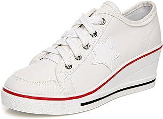 Mujer Lona de la Manera de la Cuna de Tacon Cerrado Deporte Zapatos Cordones