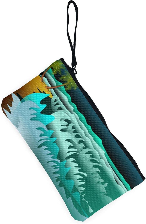 AORRUAM Sea Beach With Wave Canvas Coin Purse,Canvas Zipper Pencil Cases,Canvas Change Purse Pouch Mini Wallet Coin Bag