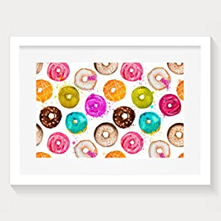 Yishuo Hand Painted Watercolor Donuts Seamless Background Fashion Home Decorations White Paint Artwork Print