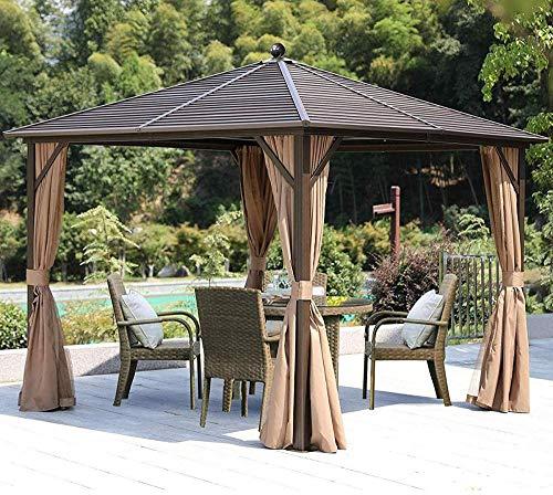10 × 10 Hardtop Gazebo Outdoor Metal Gazebo for Patios Canopy Curtains...