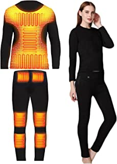 Yokbeer Heated Thermal Underwear Set For Men Women Washable Top+ Pants+ Quick Heating 3s For Outdoor Hunting Motorcycle Ca...