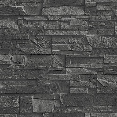 Rasch Tapeten 475036 Vliestapete in dunkelgrauer Schiefer-Optik – 10,40m x 53cm (L x B) Vlies Tapete Rasch Kollektion Factory III, 10,40 x 0,53