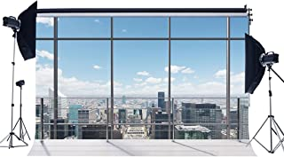 Gladbuy Vinyl 7X5FT Office Room Backdrop American New York City Business Street View Skyscraper French Sash Blue Sky White Cloud Sunshine Photography Background for Person Photo Studio Props KX131