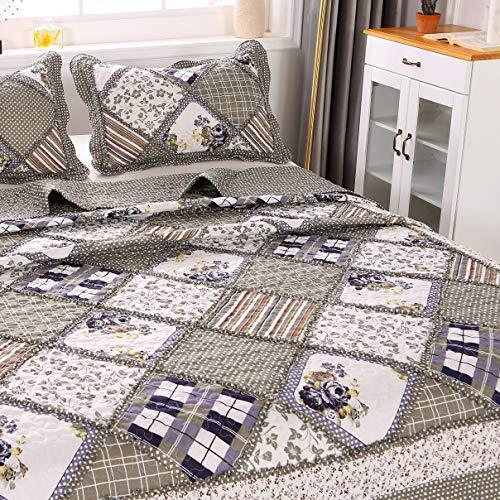 ENCOFT Tagesdecke 3 Teilig Bettwäscheset Polyester 220 * 240 cm Bettüberwurf Steppdecke Patchwork Bettdecke Doppelbett (220 x 240 cm, Grau)