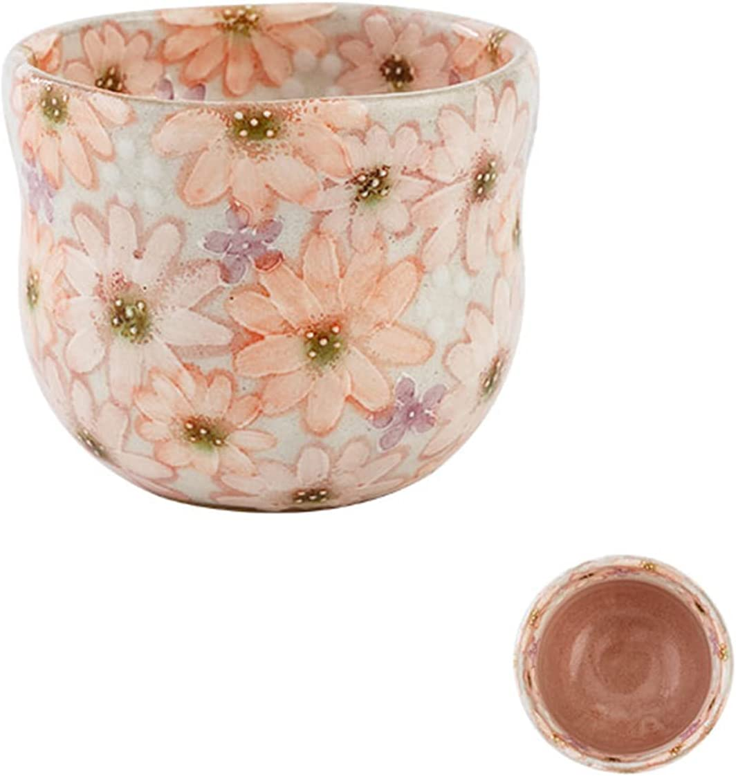 TINGCHAO Ceramic Water We OFFer at cheap prices Cup Beautiful Drawn Same day shipping Da Hand Colorful Pink