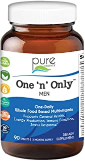 Pure Essence Labs One N Only Multivitamin for Men - Natural One a Day Herbal Supplement with Vitamin D, D3,...
