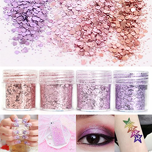 EgBert Rose Poudre Mixte Pourpre Paillettes 1Mm Paillettes Brillantes Poussière Nail Art Décoration Ombre À Paupières 10Ml
