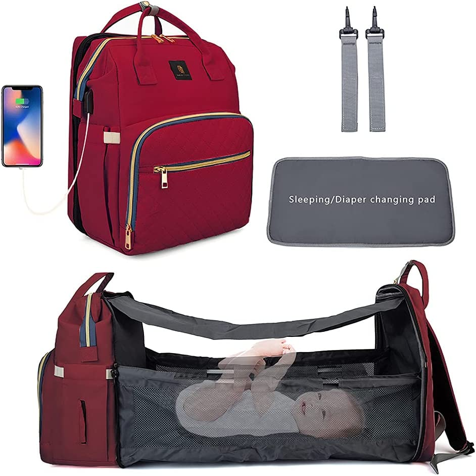 3 in 1 Diaper Bag Backpack Organizer, Baby Essentials for Newborn, foldable baby bed with diaper changing station, waterproof Travel Bassinet with USB charging port (Burgundy red)