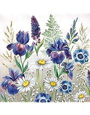 20 servetten gemengde weidebloemen als tafeldecoratie met bloemen voor de lente en zomer 33x33cm