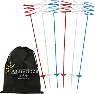 Sunnydaze Outdoor Yard Drink Holder Stakes, Heavy Duty - Patriotic Red, White, and Blue - Set of 6