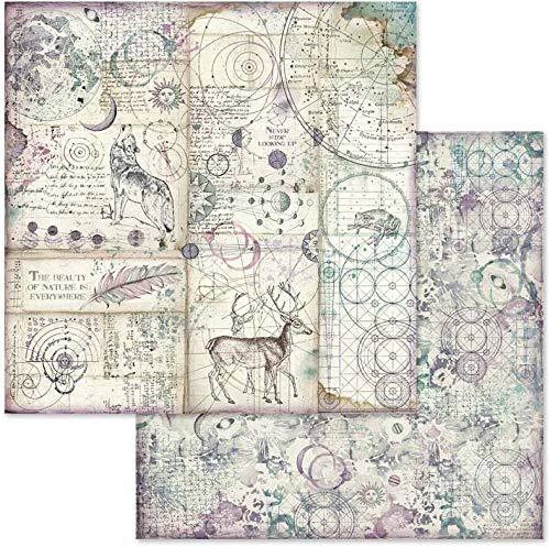"""STAMPERIA SBBS11 Papierblock 10 Blätter 20.3 x 20.3 (8"""" x 8"""") doppelseitig Cosmos, Mehrfarbig"""