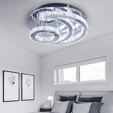 Lustre en cristal moderne, plafonnier en cristal de lune à LED, éclairage suspendu blanc froid, luminaire suspendu en cristal à montage affleurant
