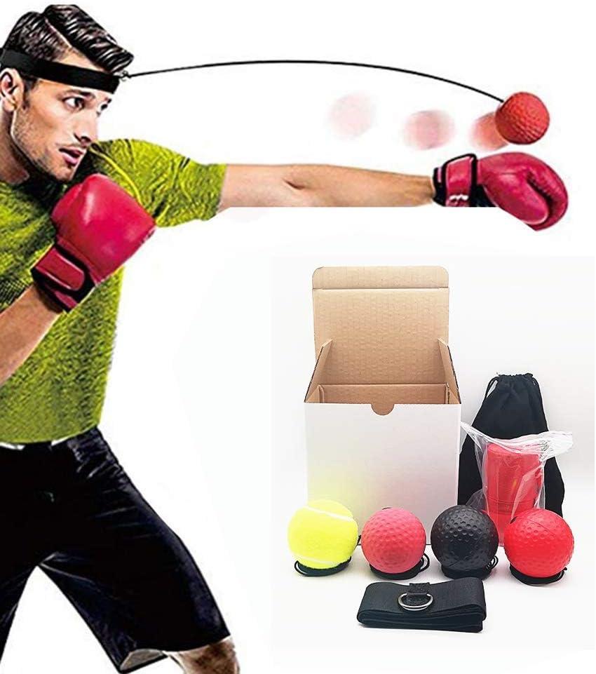 GRTVF Boxeo Reflex Bola Bolas en Cadena con Las Vendas del Entrenamiento de la Velocidad for Reaccionar Reflex Bola Boxeo Más Suave Que Ping Pong, Boxer Bolas for la coordinación Mano-Ojo Adultos/Ni