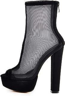 Women's Peep Toe Mid Calf Boots Mesh Ankle Booties Platform Chunky High Heel Back Zipper Sandals Boot