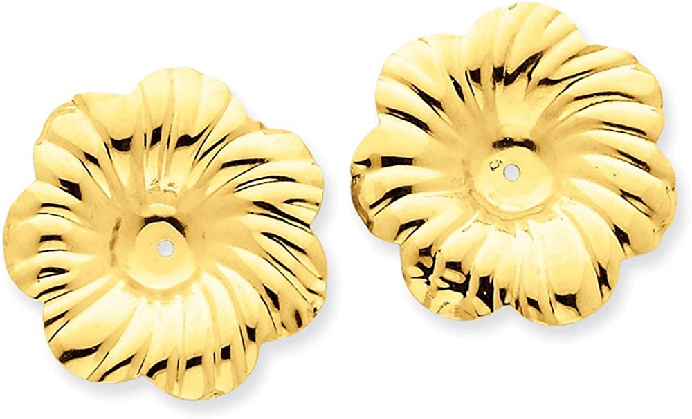 Genuine 14k Yellow Gold Polished Floral Earring Jackets 24x23mm