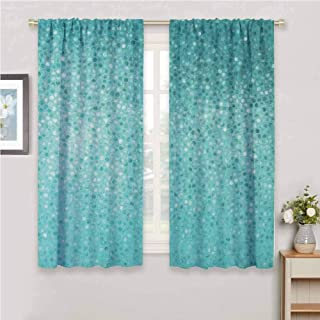 GUUVOR Turquoise All Season Insulation Small Dot Mosaic Tiles Shape Simple Classical Creative Artful Design Noise Reduction Curtain Panel Living Room W42 x L72 Inch Teal Turquoise Seafoam