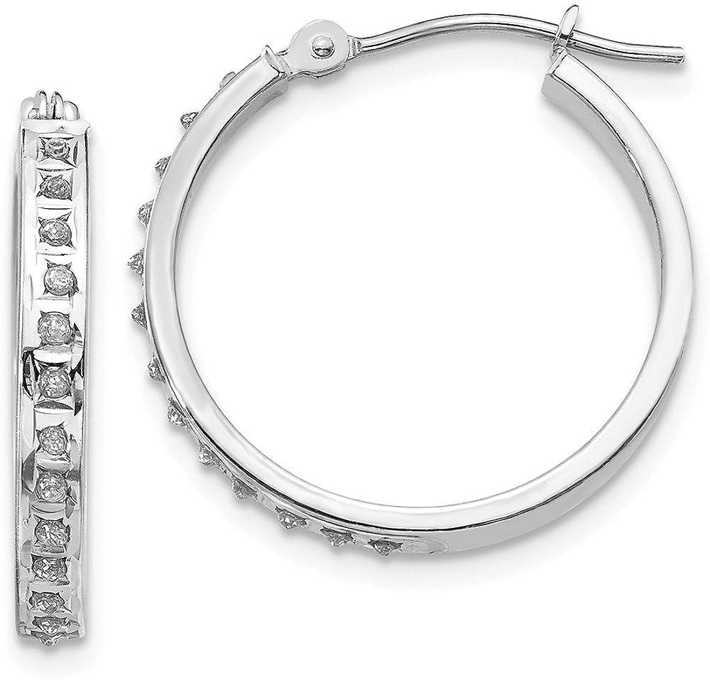 14k White Gold Diamond Round Hinged Hoop Earrings (L-21 mm, W-3 mm)