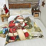 Rapport - Set Copripiumino di Babbo Natale in Poliestere-Cotone, Multicolore, per Letto Matrimoniale King Size