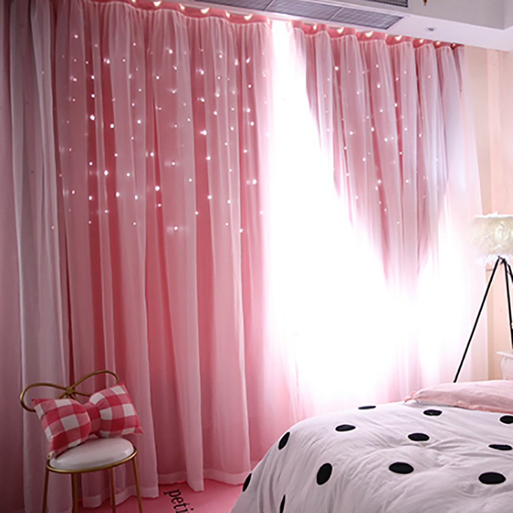 Satin Curtain Princess Pink and White Bow Embroidered 126994A