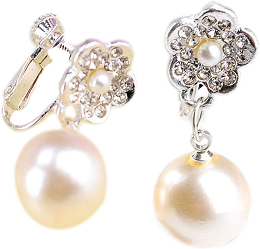 Women Clip On Earrings Simulated Pearl Drop Dangle Earrings Clip Prom for Gift