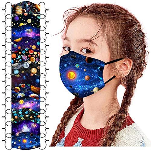 Blingko 12 StüCk Mundschutz Bandanas Kinder Waschbar 3D Druck Verstellbarer HäNgendes Ohr Staubschutz Atmungsaktive Waschbar Mund und Nasenschutz Halstuch FüR Jungen Und MäDchen