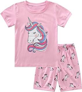 Pijama Niña Verano, Ropa de Niña Vacaciones Algodon 100%, Conjuntos de 2 Piezas Top y Pantalon Corto Niña,Infantil Verano Ropa Chica Manga Corta