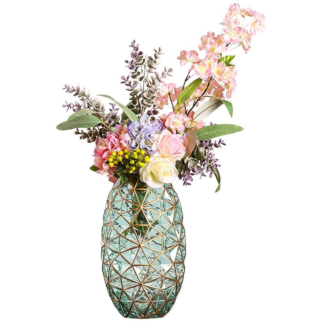 粗い飲料ローマ人花瓶 干し人工花のアレンジメントのためのヨーロッパスタイルのガラスの花瓶、屋内家庭リビングルームのテレビキャビネットディナー/コーヒーテーブル装飾装飾工芸、10x34cm
