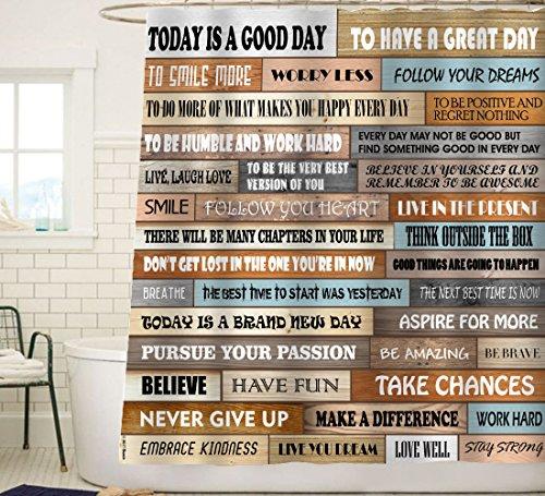 Sunlit Inspirierende motivierende Glückszitate für Mut,Rustikale Kabine Holz Duschvorhang,Schrank Vorhang Home Badezimmer Dekor Stoff Zitat Wandteppich 180x180cm Braun