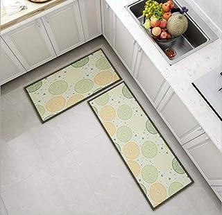 قطعتان من سجادة المطبخ سجادة حمام مانعة للانزلاق ومدخل باب مقاوم للاهتراء ماكينة قابلة للغسل بنمط نقطة خضراء 60 * 90 + 60 ...