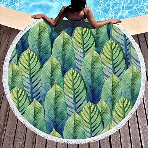 binghaishu Toallas de playa de planta verde toallas de playa toallas de playa borlas redondas