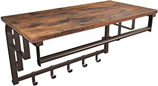 VASAGLE Industrial Coat Rack Shelf Wall Mounted, Coat Hooks Shelf with Hanging Rail, 5 Metal Removable Hooks and Storage Shelf for Entryway Hallway Bedroom Bathroom Living Room ULCR13AX