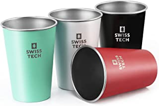Sponsored Ad - Swiss+Tech 16 oz Stainless Steel Cups, 4 Pack Stackable Pint Cup For Travel, Outdoor and Home
