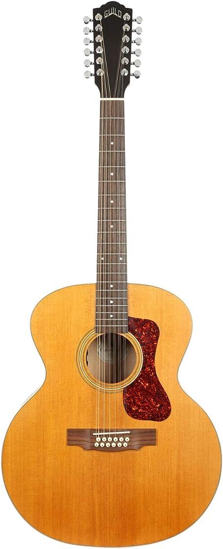 Chitarra acustica 12 corde, blonde jumbo archback solid top, collezione westerly guild guitars f-2512e 383-3614-921