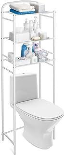 Amzdeal Estantería para inodoro con 3 estantes Estante de toallas y artículos de tocador Metal y Blanco de talla 156.5...